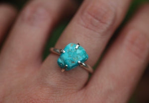 Castle dome turquoise nugget ring US 6.5
