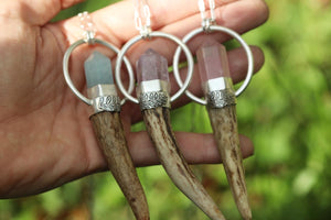 Sterling silver naturally shed deer antler and crystal point necklace