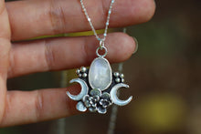 Succulent garden rose cut moonstone necklace