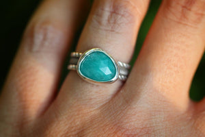 Sterling silver amazonite ring US 6