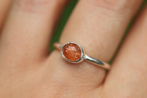Rainbow sunstone ring US 6.5