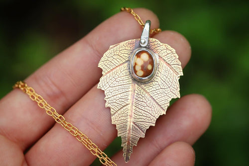 Large brass and sterling silver ocean jasper birch leaf necklace