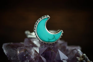 Turquoise moon twig ring US size 7