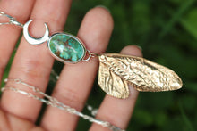 Riveted bronze cicada wing Carico Lake turquoise necklace