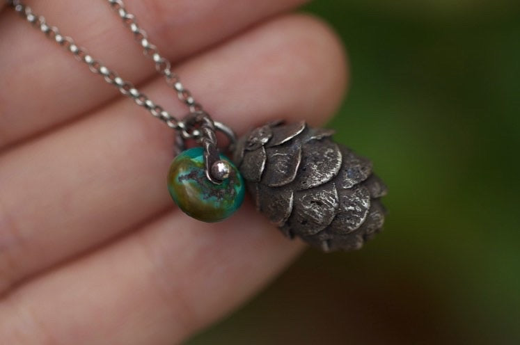 Solid sterling silver hemlock cone turquoise necklace #7
