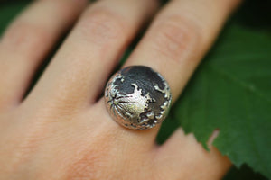 Full moon sterling silver ring US size 7
