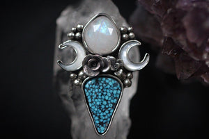 Made to size- Succulent garden rose cut moonstone ring