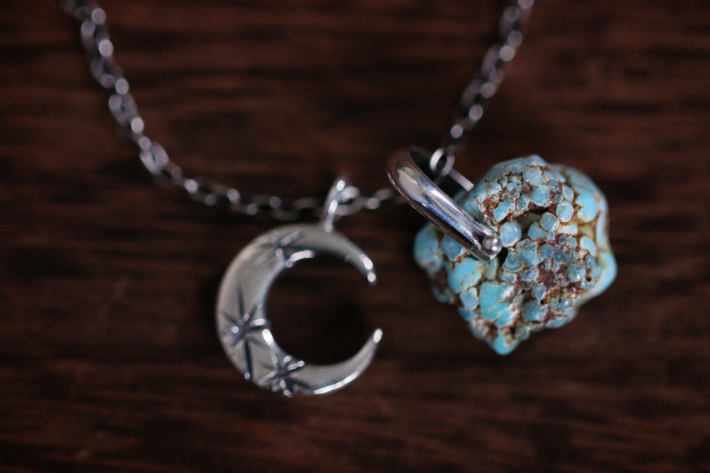 Sterling silver natural Valley Blue turquoise nugget starry moon textured wire necklace #29