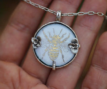Enameled 22 karat gold bee and succulent medallion necklace