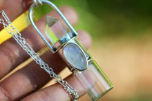 Quartz and rainbow moonstone cast sterling silver rollerball necklace