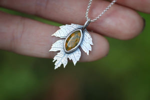 Mini sterling silver ocean jasper Hawthorne leaf necklace