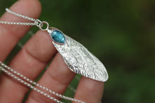 Sterling silver cast cicada wing with rose cut kyanite