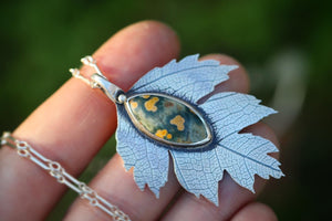 Large sterling silver ocean jasper Hawthorne leaf necklace