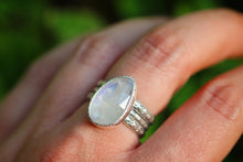 Sterling silver rainbow moonstone ring US 7