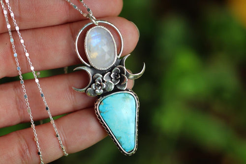 Succulent garden rose cut moonstone and turquoise mountain turquoise necklace