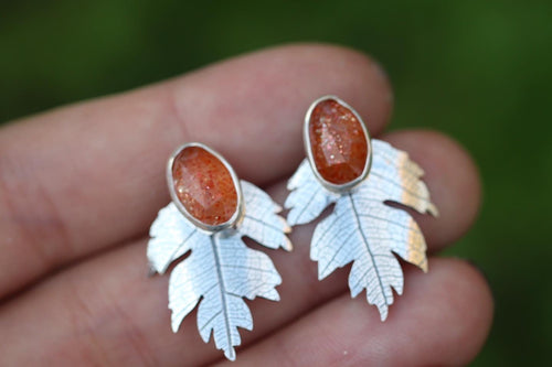 Rainbow sunstone post earrings with hawthorne leaf ear jacket
