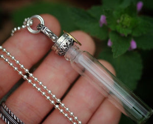Scent perfume / dried flowers / essential oil bottle necklace #8