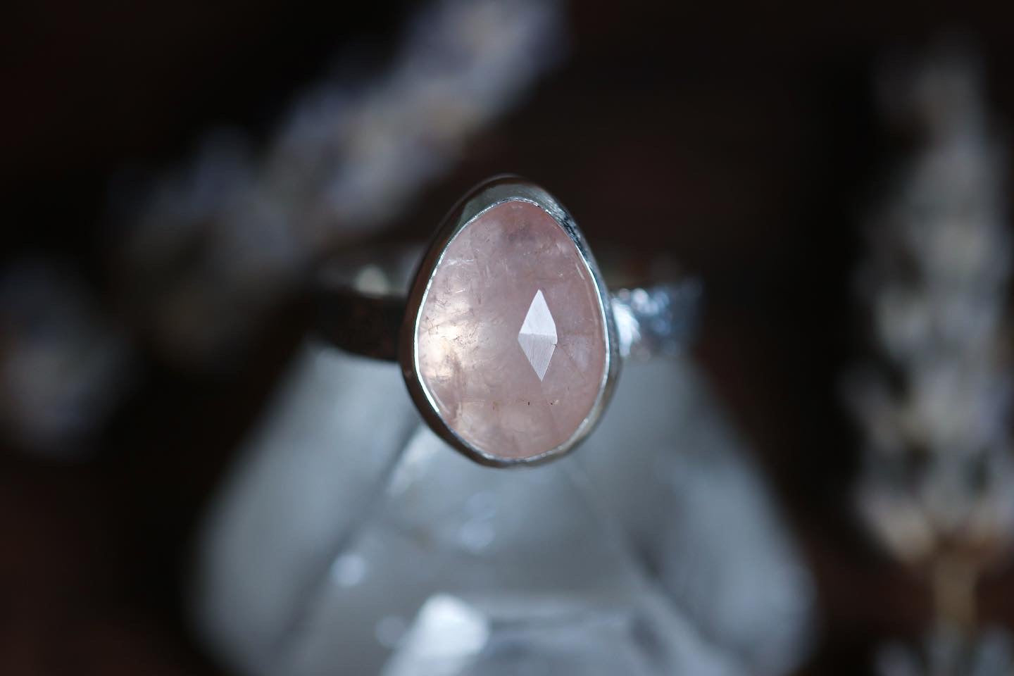 Sterling silver rose cut morganite ring US size 5.75