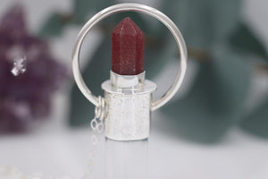 Sterling silver and fine silver lightly textured strawberry quartz rollerball necklace