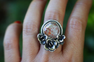 Rose cut rainbow sunstone succulent garden ring US size 7
