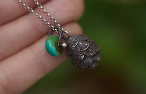 Solid sterling silver hemlock cone turquoise necklace #4