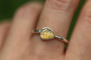 yellow tourmaline leaf ring US 8.5