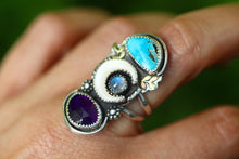 Mother of pearl crescent moon, rainbow moonstone, Morenci turquoise and amethyst statement ring US 7.5
