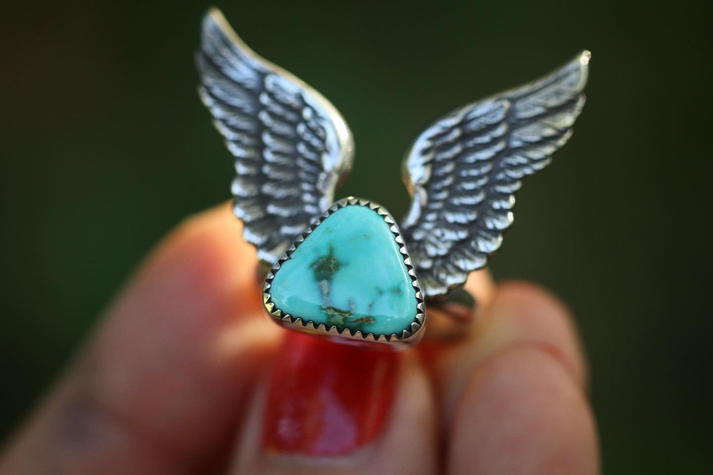 Winged natural Royston turquoise ring US 7