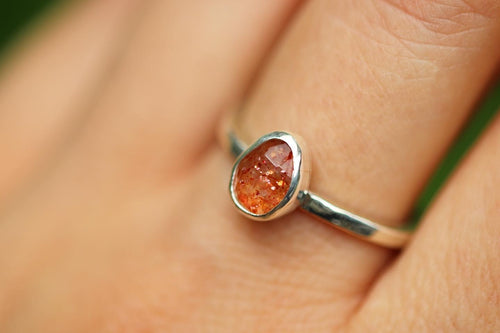 Rainbow sunstone ring US 8
