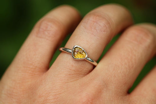 yellow tourmaline leaf ring US 5.5