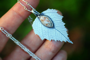 Large sterling silver ocean jasper birch leaf necklace