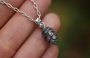 Mini solid sterling silver hemlock cone necklace #2