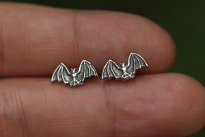 Sterling silver bat earrings
