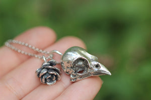 Sterling silver sparrow succulent necklace