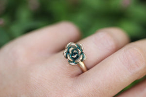 Bronze and 14k gold filled succulent ring US 6
