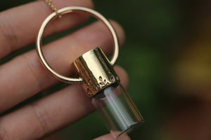 Rollerball necklace- hand fabricated hand stamped bronze rollerball necklace