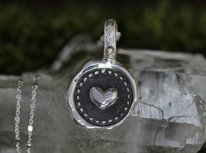 Sterling silver heart wax seal necklace