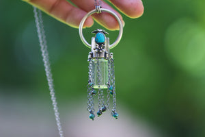 Rollerball necklace - Turquoise tassel succulent rollerball necklace