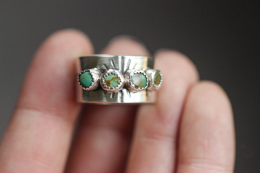 Sterling silver quadruple manassa turquoise wide band ring US size 7