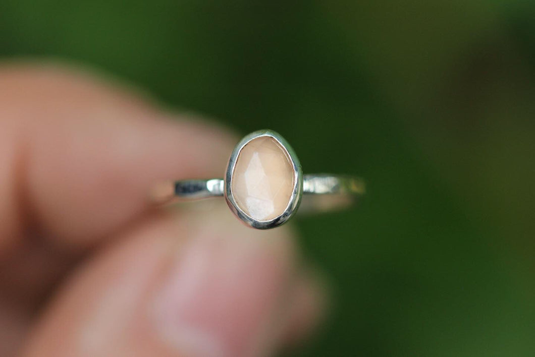 Peach moonstone stacking ring US size 6.5
