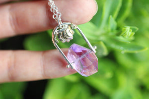 Pinned faceted amethyst and succulent necklace #2