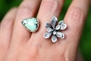 Adjustable succulent and Apache turquoise/variscite ring US size 6-9