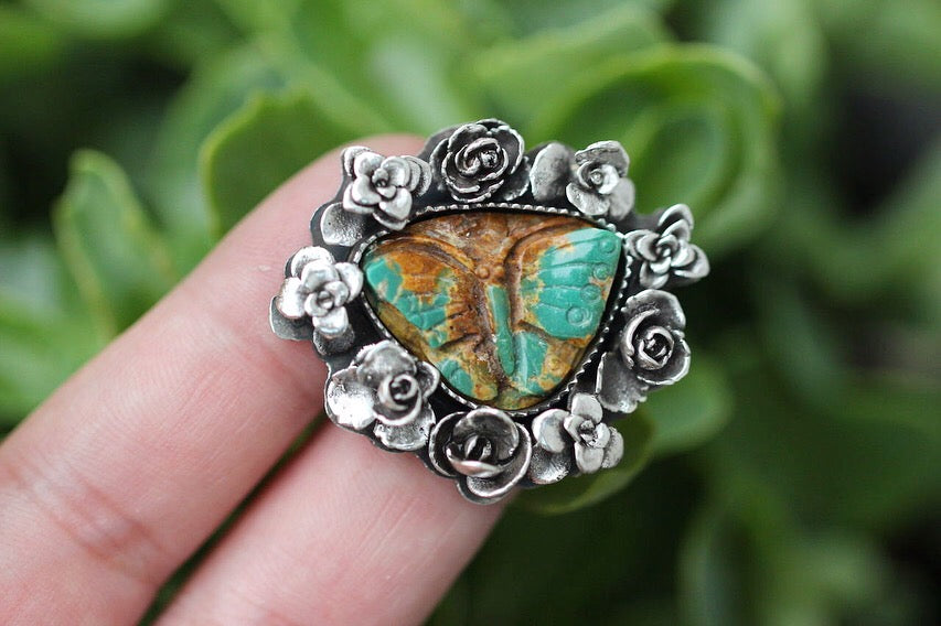 MADE TO ORDER- Carved turquoise butterfly succulent wreath ring or necklace