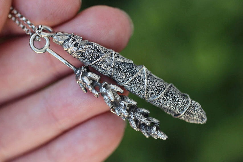 Sage smudge stick and lavender necklace #1