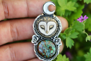 Made to finish | Rare natural rattlesnake turquoise owl necklace