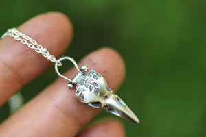 Mini leafy vine raven skull necklace #1