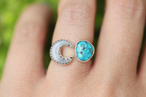 Adjustable moon mother of pearl and morenci turquoise floral ring