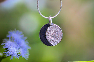 sterling silver moon phase necklace reversible- Made to order
