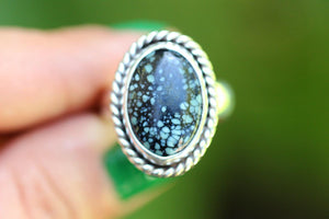 Natural New Lander turquoise ring US size 7.5-7.75