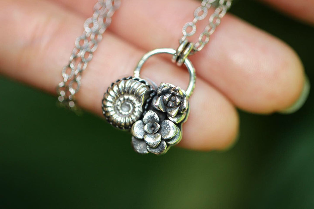 Cast sterling silver ammonite succulent necklace